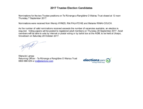 2017 Trustee Election Candidates